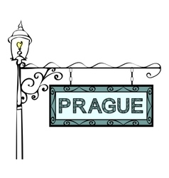 Prague retro pointer lamppost vector