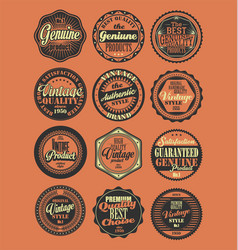 Premium quality retro badges collection red vector