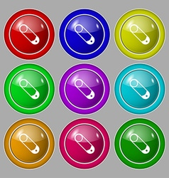 Pushpin icon sign symbol on nine round colourful vector
