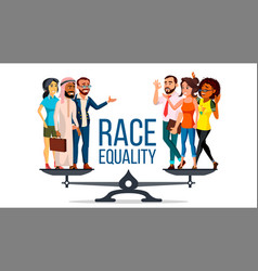 race equality standing on scales equal vector image