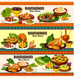 Ramadan iftar meat and fish dishes with dessert vector