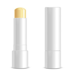 realistic 3d detailed white blank lip balm stick vector image