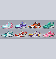 Realistic sneakers various shoes for training and vector