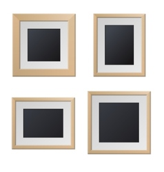 Realistic Wood Picture Frames with Blank Center vector