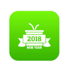 retro christmas gift icon green vector image