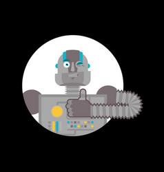Robot thumbs up and winks cyborg happy emoji vector