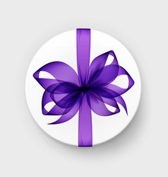 Round gift box with purple bow and ribbon vector