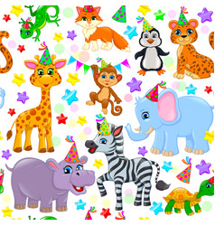 Seamless animal pattern stars birthday cone vector