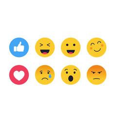 set cute smiley emoticons emoji vector image