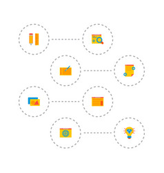 set of wd icons flat style symbols with web vector image