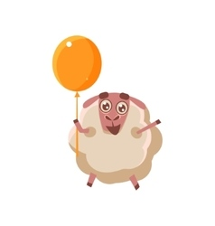 Sheep With Orange Balloon vector