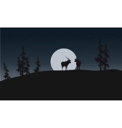Silhouette of antelope and full moon vector