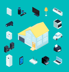 smart home isometric decorative icons vector image