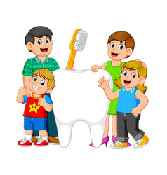 Smiling parents with two kids standing vector