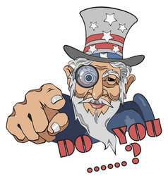 smiling uncle sam isolated drawing us vector image