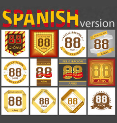 Spanish set number 88 templates vector