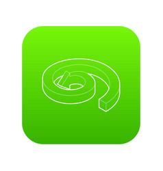 Spiral arrow icon green vector
