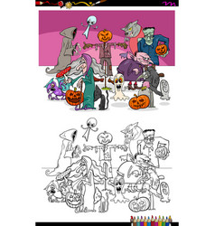spooky halloween cartoon characters coloring book vector image