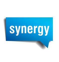 Synergy blue 3d speech bubble vector
