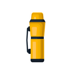 Tea or coffee thermos with handle yellow aluminum vector