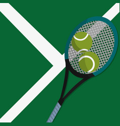 Tennis court with racket and balls to play sport vector