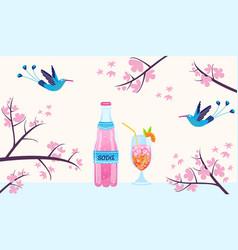 Tropical birds summer drinks vector