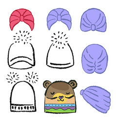Turban or shower cap knitted hat template vector