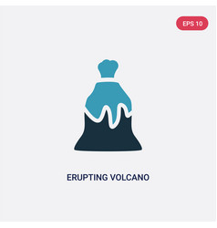 two color erupting volcano icon from meteorology vector image