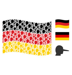 Waving german flag pattern of lier items vector