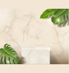 White marble 3d blank rectangle podium vector
