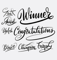 Winner and congratulations hand written typography vector