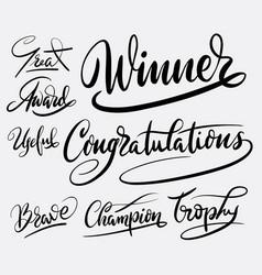 Winner and congratulations hand written typography vector