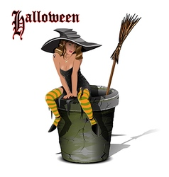 Witch on a Mortar vector