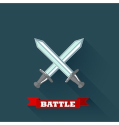 with crossing swords in flat design with long vector image