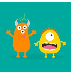 Yellow and orange monster with one eye teeth vector