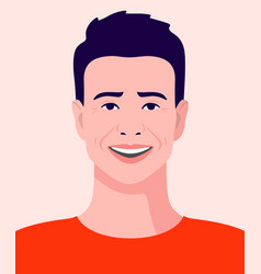 Young man in a t-shirt smiling avatar vector