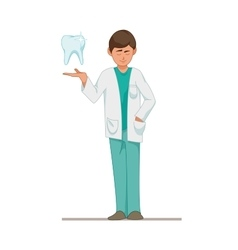 Dentist a doctor in a blue suit a tooth vector image vector image