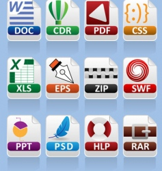 file extension set vector image