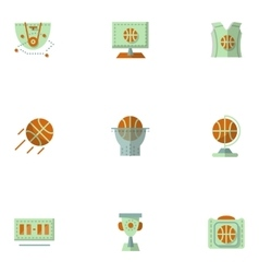 Flat simple icons for basketball vector image vector image