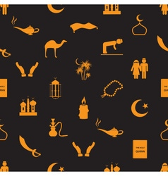 islamic religion simple icons seamless pattern vector image