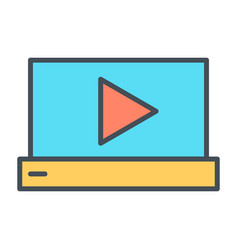 laptop with play button thin line icon pictogram vector image vector image