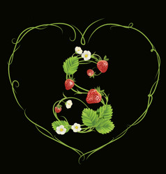 letter s in strawberry style vector image