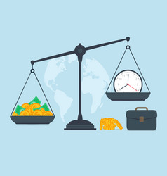 time and money on scales business success vector image