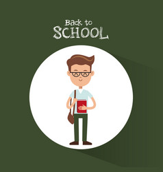 Back to school student boy glasses bag book green vector