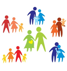 Family colored set of icons vector