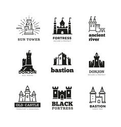 medieval castle and knight fortress ancient vector image
