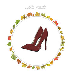 model shoes hand draw autumn collection frame of vector image vector image