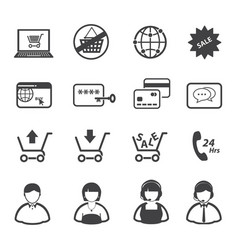 online market and shopping icon set vector image