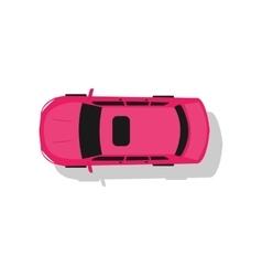 Pink Car Top View Flat Design vector image