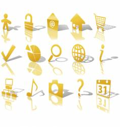 web gold button icons vector image vector image